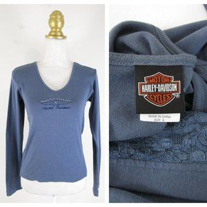 Harley Davidson Gray Blue Lace Graphic Top Shirt S